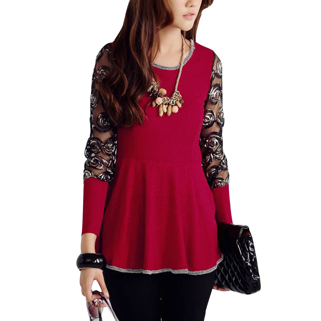 Ladies Round Neck Long Sleeve Foil Detail Peplum Top Red XS