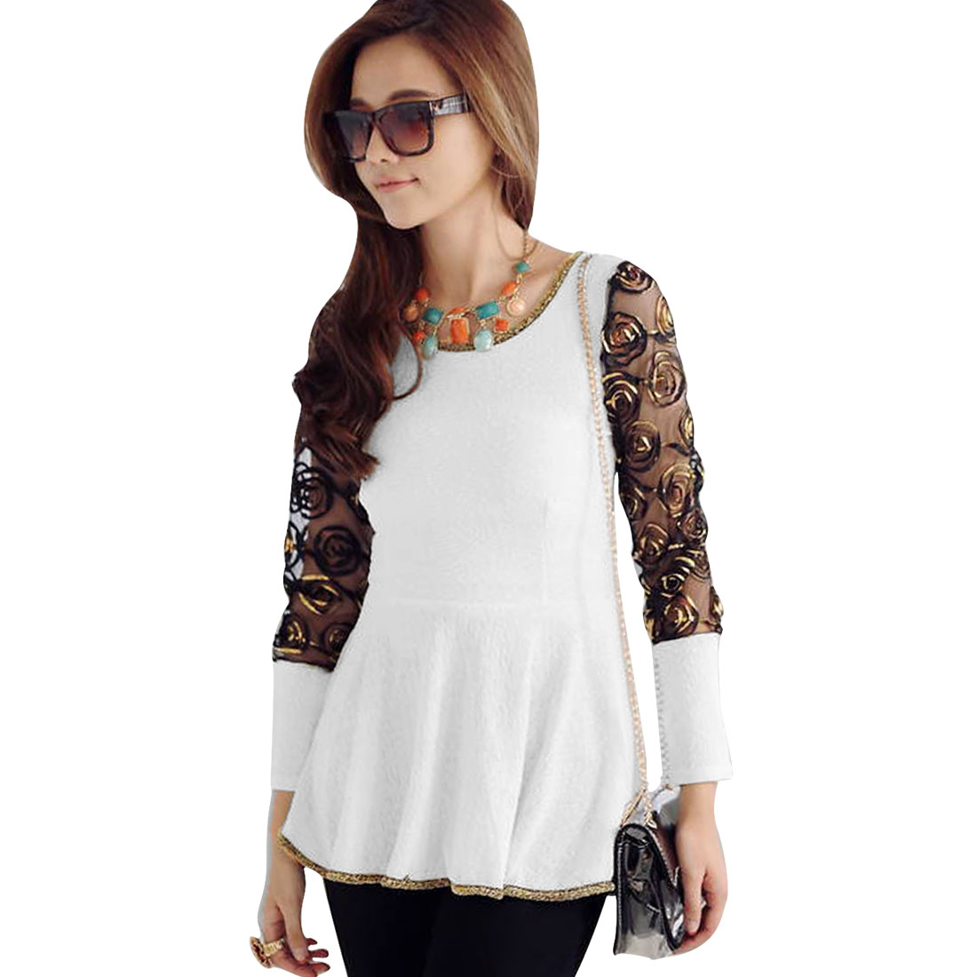 Ladies Mesh Sleeve Patchwork Peplum Top White XS