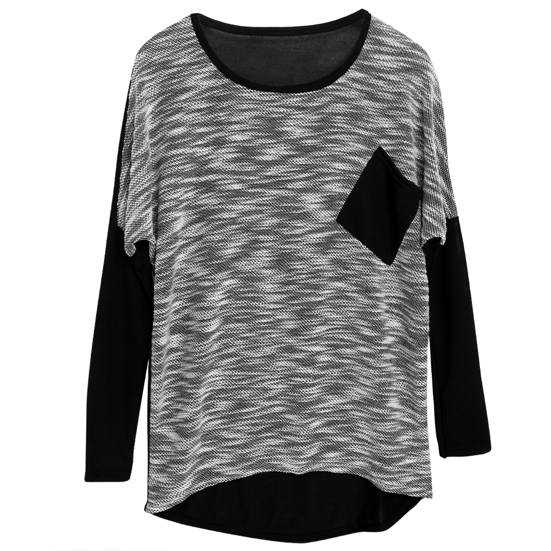 Lady's Loose High Low Hem Spliced Batwing Sleeve Pullover Knit Shirt Black S