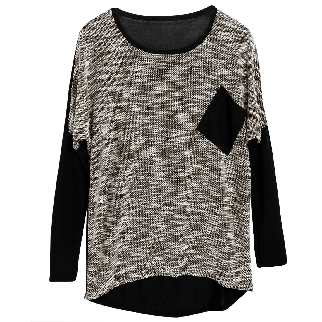 Pullover High Low Hem Spliced Batwing Sleeve Casual Khaki Knit Shirt For Lady S