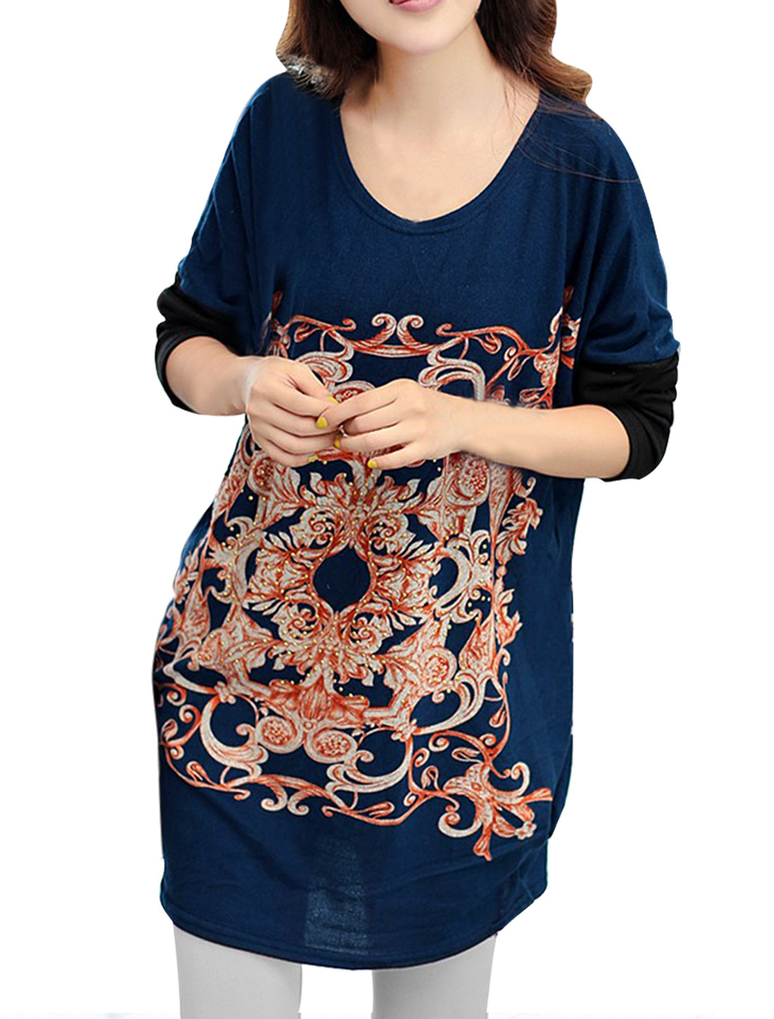 Women's Spliced Batwing Sleeve Stretchy Soft Orange Navy Blue Shirt M