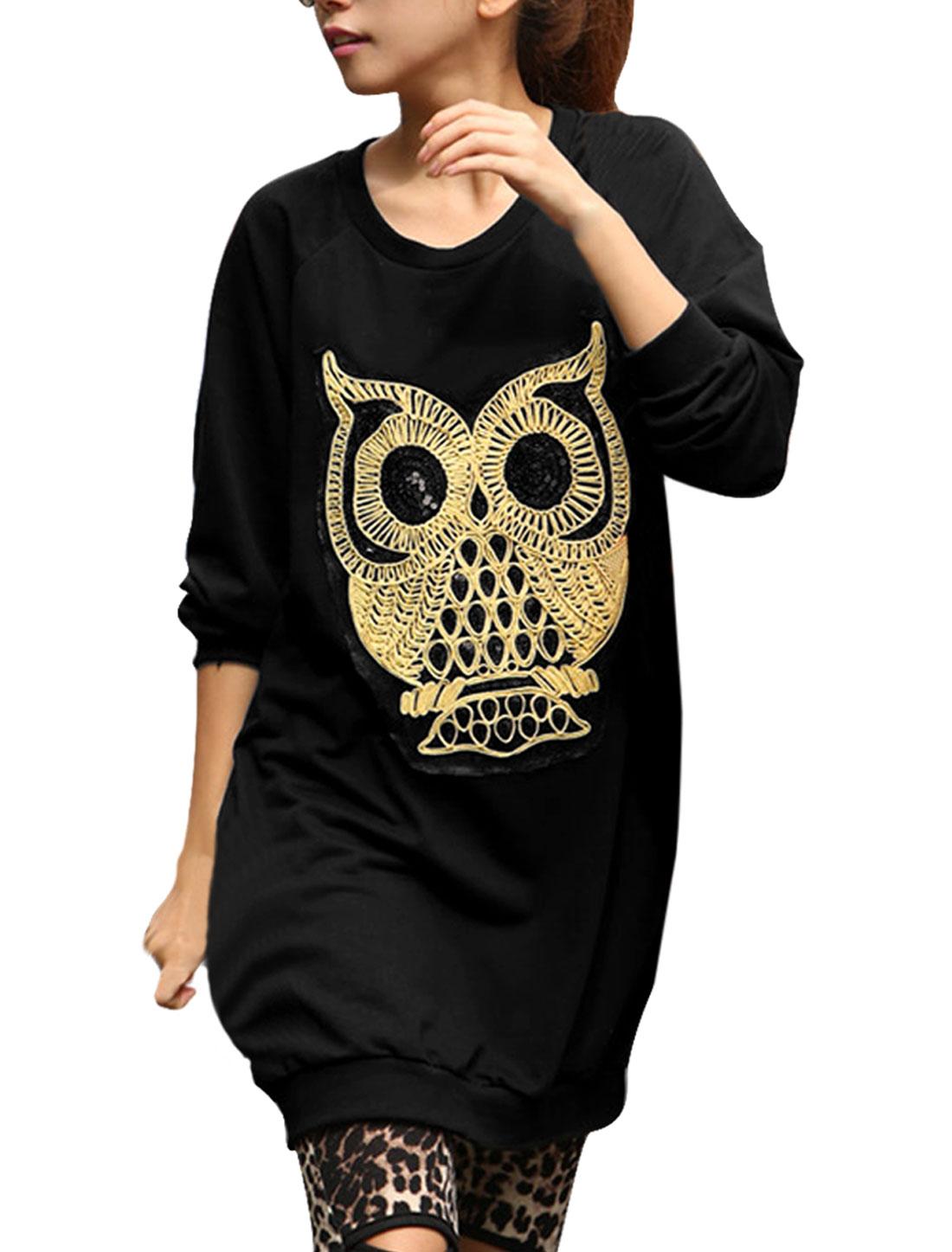 Women Pullover Raglan Sleeve Owl Pattern Two Pockets Tunic Tops Black S
