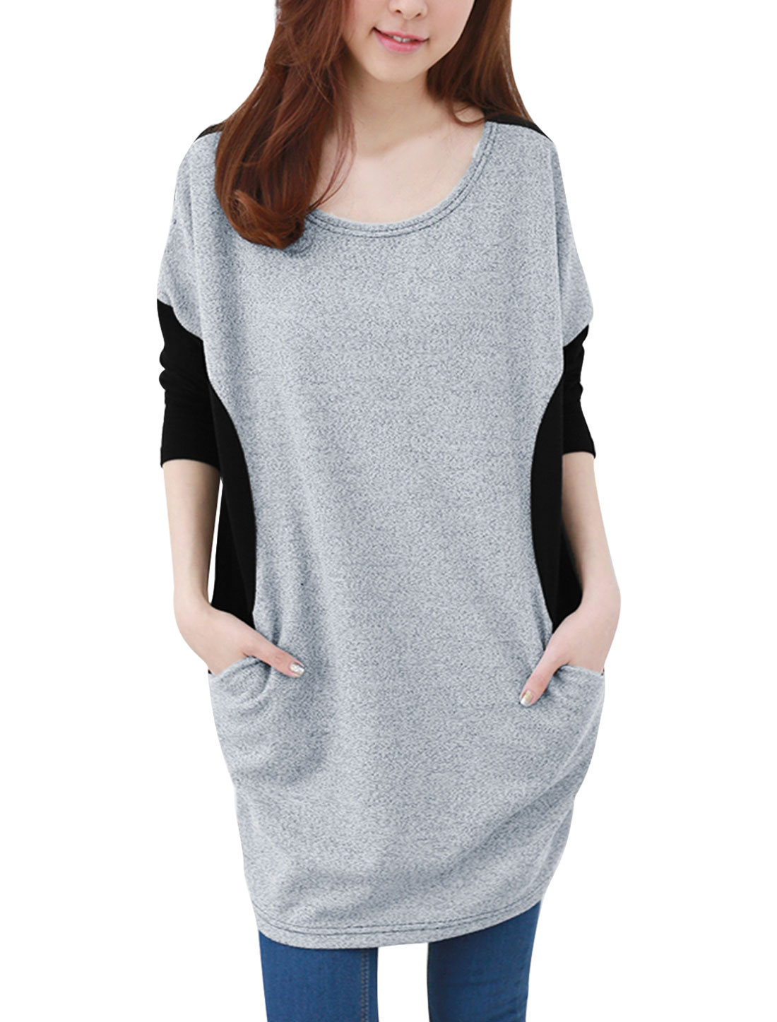 Lady Scoop Neck Long Batwing Sleeve Two-tone Black Gray Tunic Shirt S