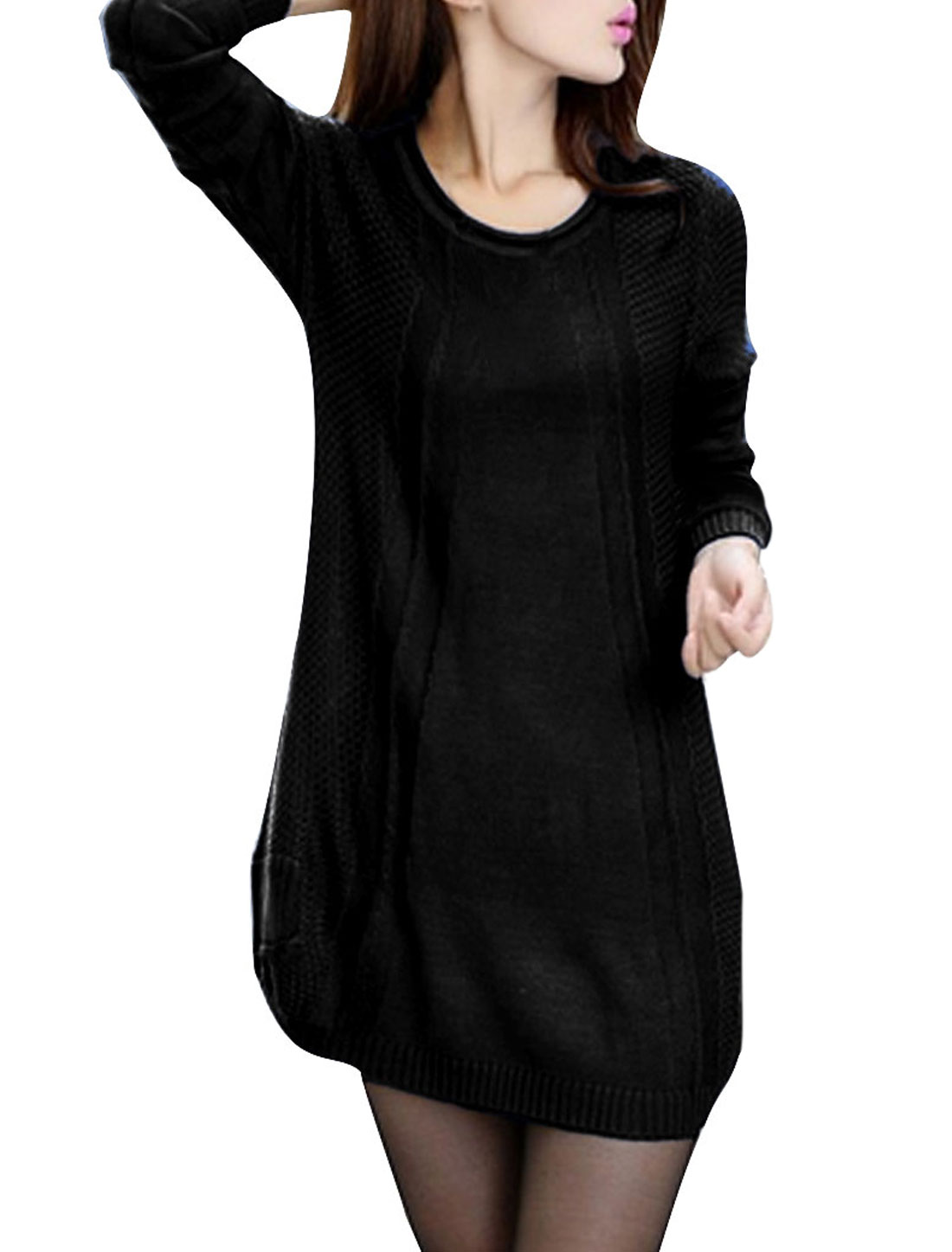 Woman Round Neck Long Sleeve Textured Design Pullover Black Sweater XS