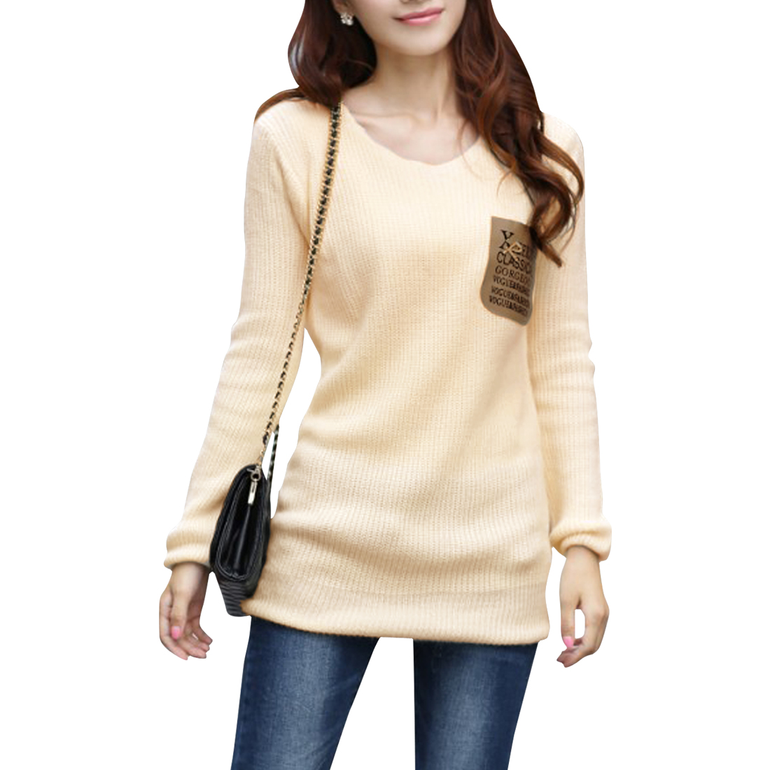 Pullover Beige Color Stretchy Soft Tunic Sweater for Lady S
