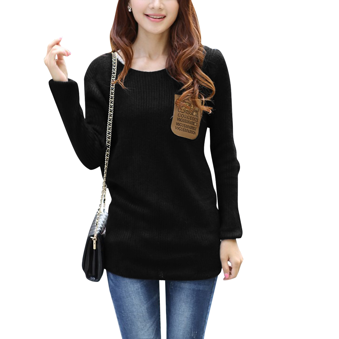 Ladies Letters Printed Faux Leather Patch Pocket Front Black Sweater S