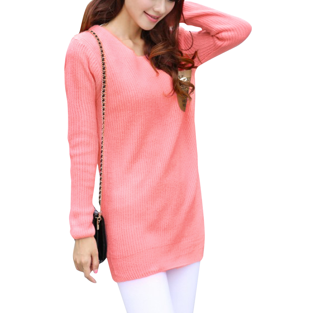 Woman Long Sleeve Letters Printed Patchwork Pocket Pink Tunic Sweater S