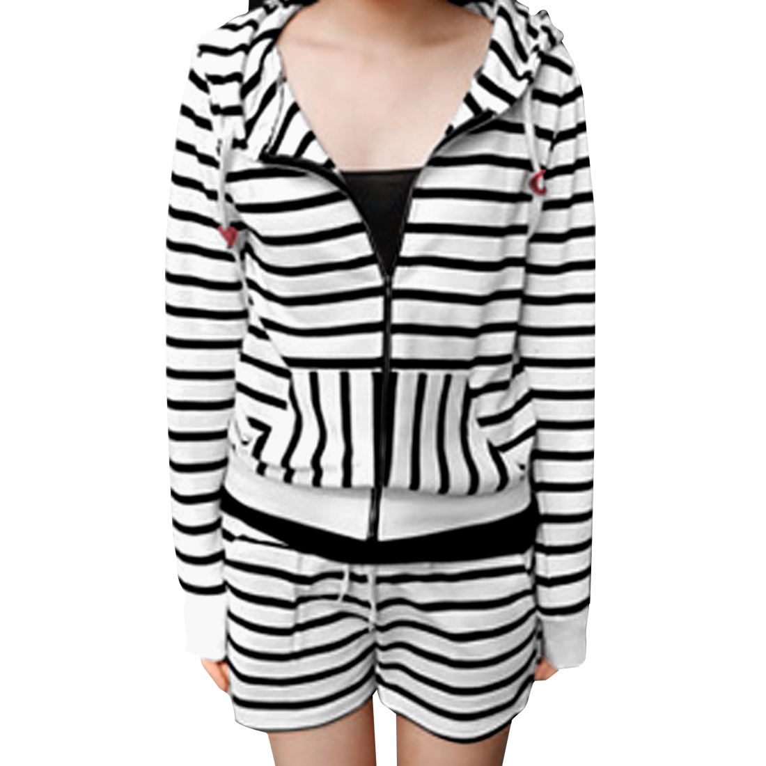 Lady Long Sleeves Stripes Hoodie w Drawstring Waist Shorts Sets White XS