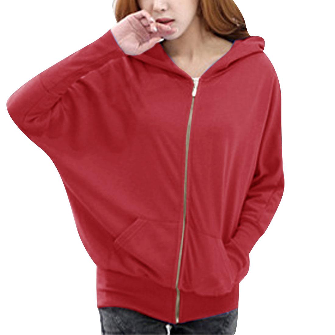 Women Dolman Sleeves Kangaroo Pocket Zip Up Hoodie Red S