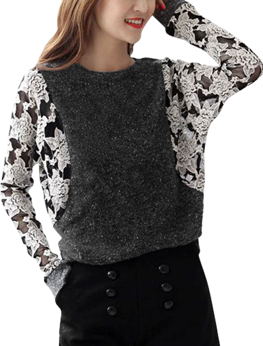Lady Round Neck Long-sleeved Patchwork Dark Gray White Top Blouse XS
