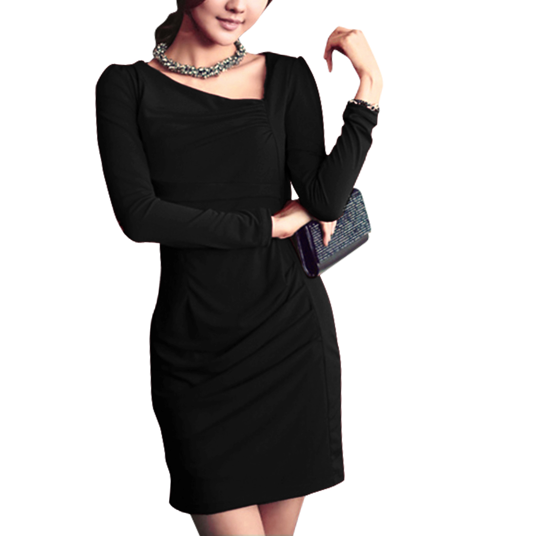 Women Long Sleeved Black Sexy Sheath Dress XS