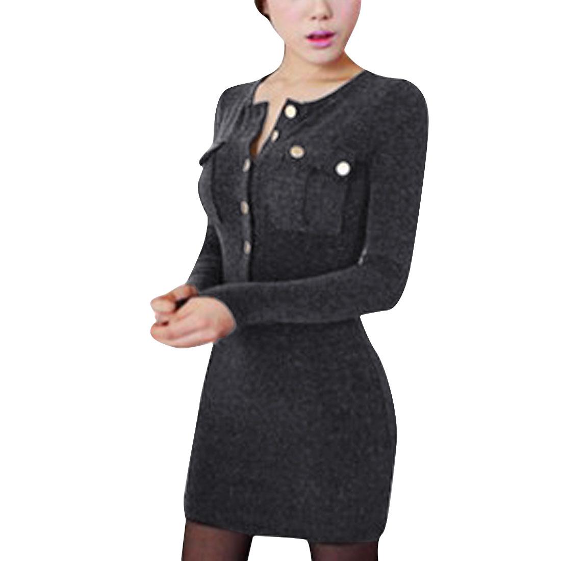 Woman's Fashionable Round Neck Long Sleeves Dark Gray Shirt XS