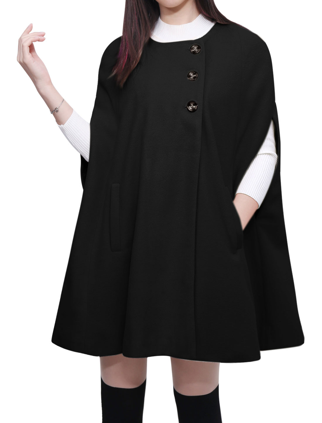 Women Round Neck Slit Sleeves Worsted Poncho Coat Black L