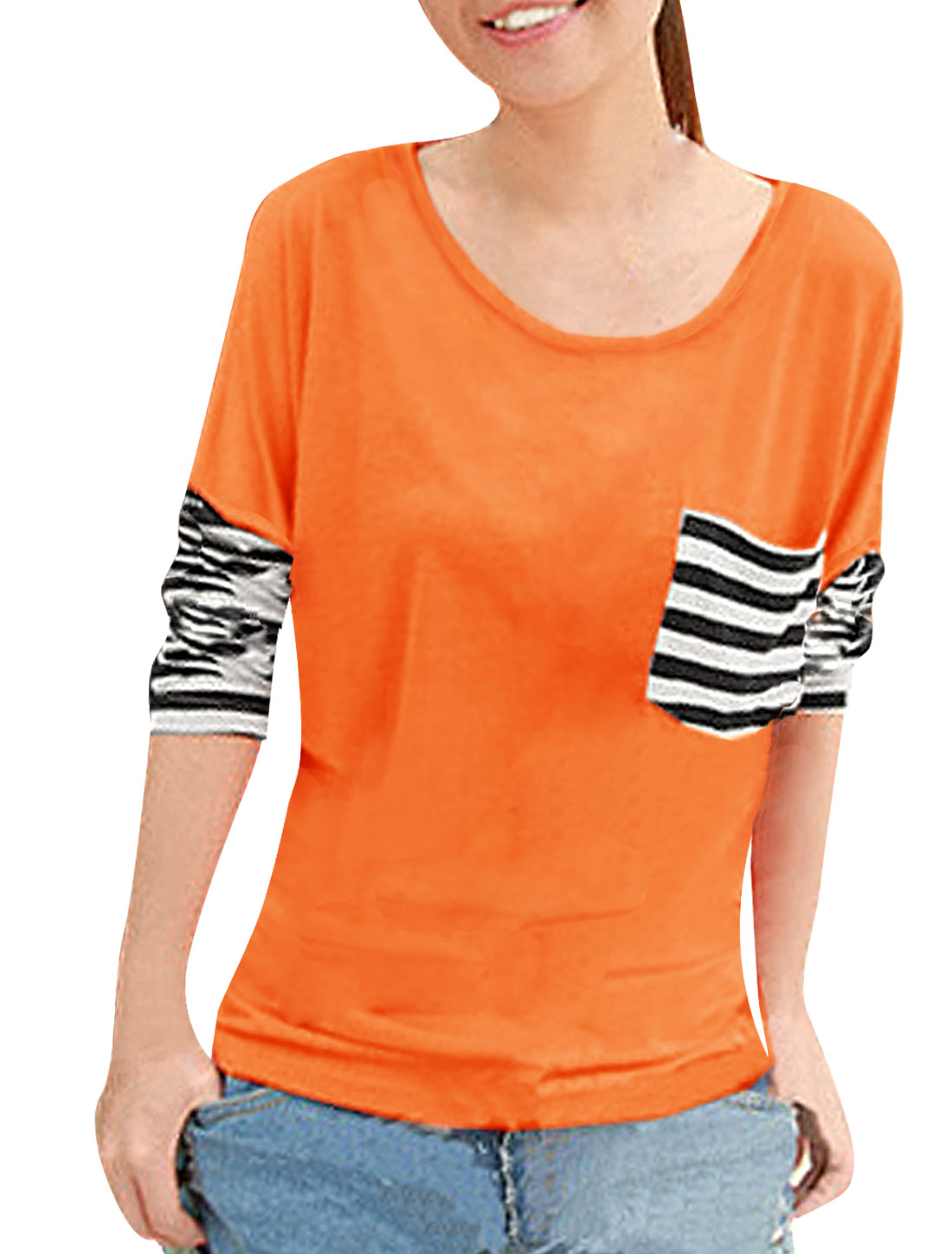 Lady Fashion Orange Color Scoop Neck Dolman Sleeve Spring T-Shirt XL