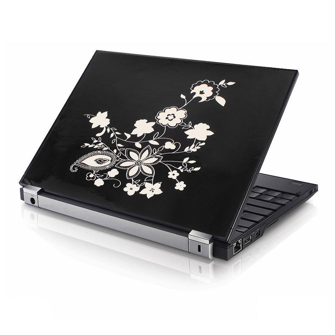 "15.6"" 14"" 13"" 11.6"" 10"" Laptop PC Skin Flower Pattern Sticker Decal Black White"