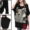 Lady Scoop Neck Batwing Sleeved Animal Print Black Tunic Shirt S