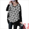 Women Scoop Neck Long Sleeve Loose White Knitting Tunic Shirt S