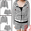 Lady Hooded Stripes Hoodie & Stretchy Waist Stripes White Black Shorts XS