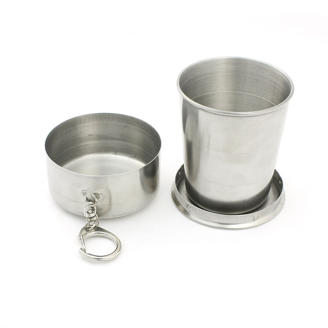 Protable Lobster Hook Stainless Steel Retractable Cup Silver Tone