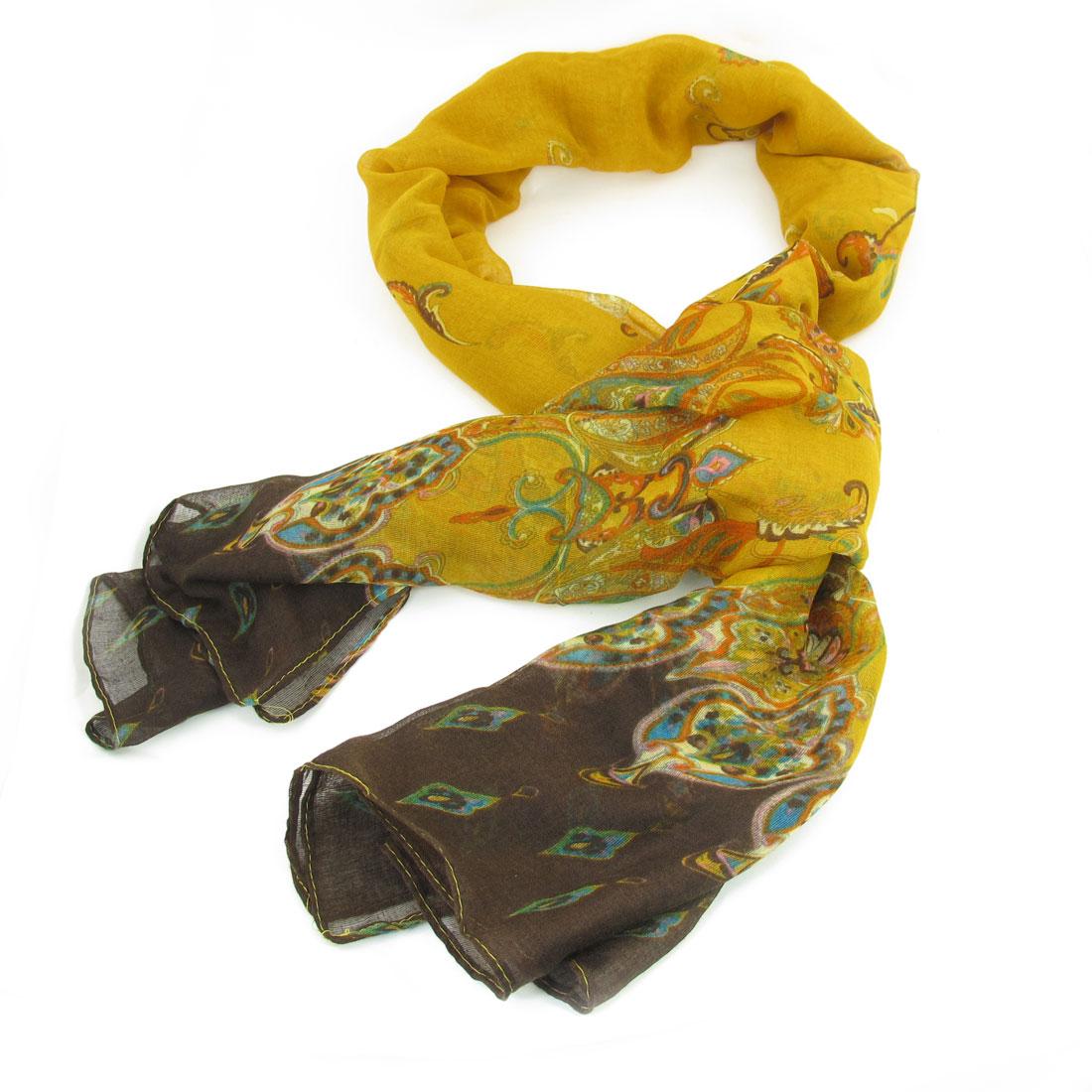 Retro Prints Dark Yellow Guaze Long Scarf Wrap Shawl Blouse Decor for Woman