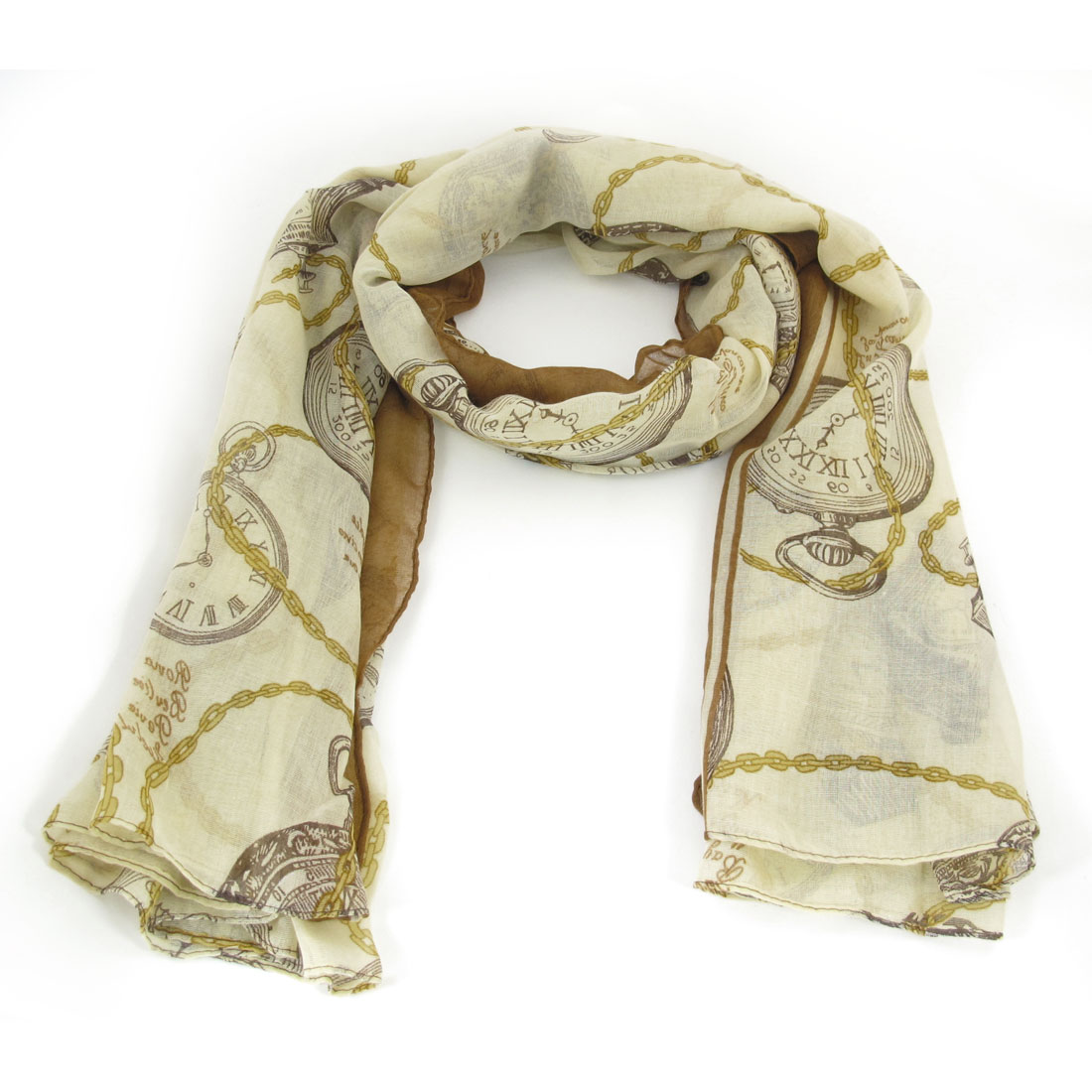 Women Brown Beige Soft Gauze Clock Pattern Spring Fall Wearing Scarf Wrap