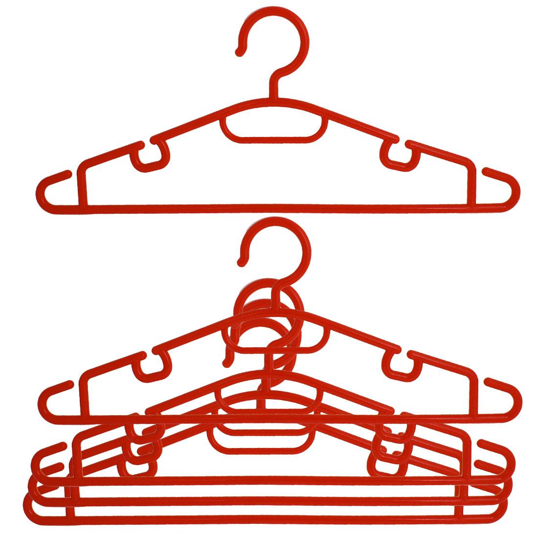 Red Plastic Garment Coat Pans Hanging Mini Clothes Hangers 5 Pcs