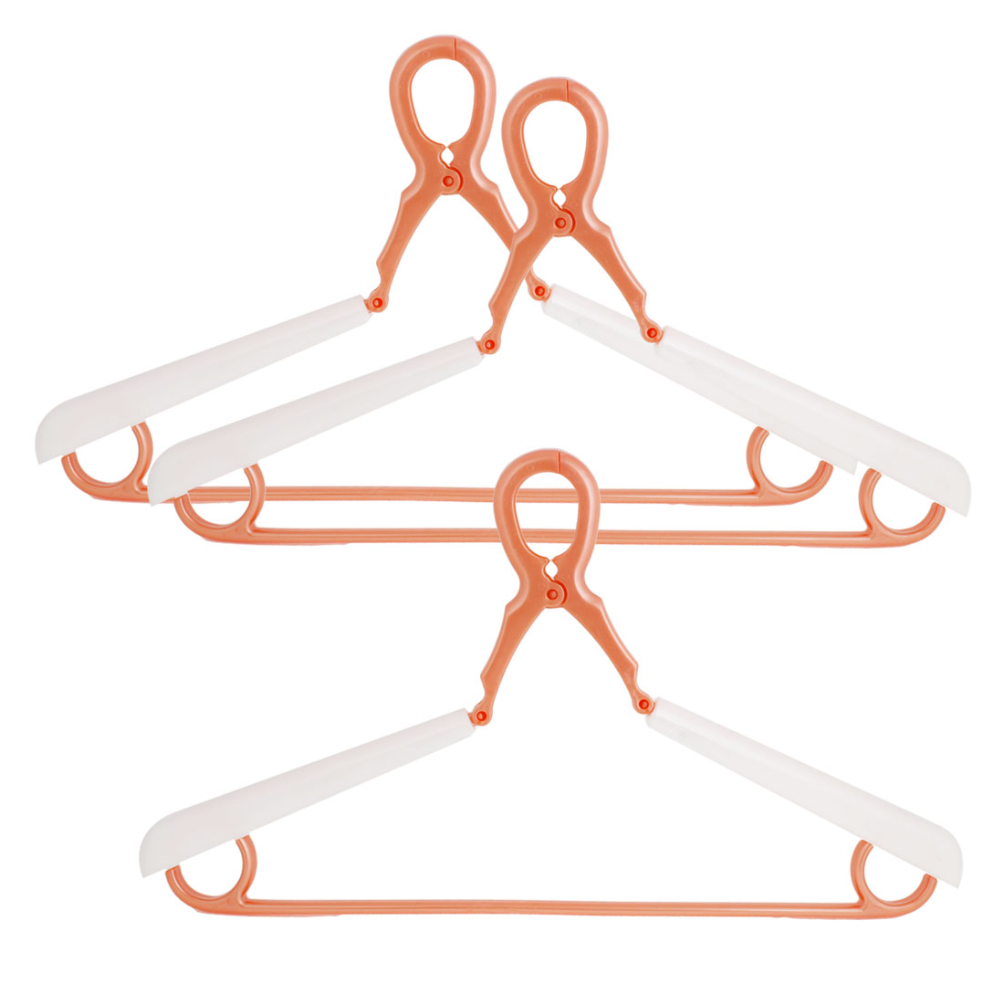 3 Pcs Coat Hanging Orange White Plastic Garment Clothes Hanger