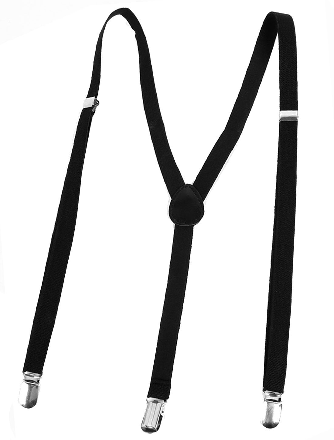 Unisex Clip-on Adjustable Pants Fully Elastic Y-Back Suspender Braces Black
