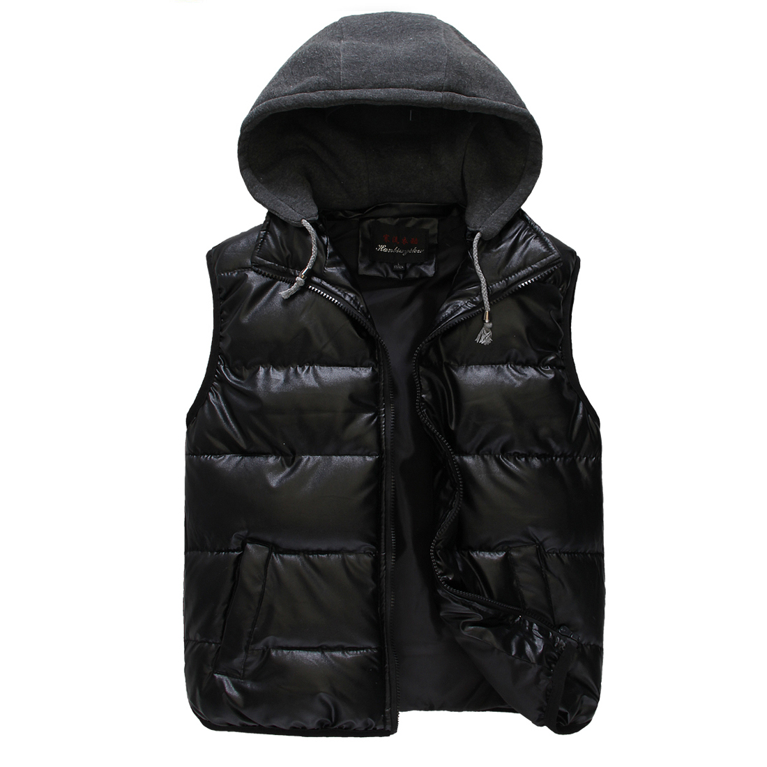 Stylish Movable Hood Design Black Faux Leather Warm Padded Vest for Man S