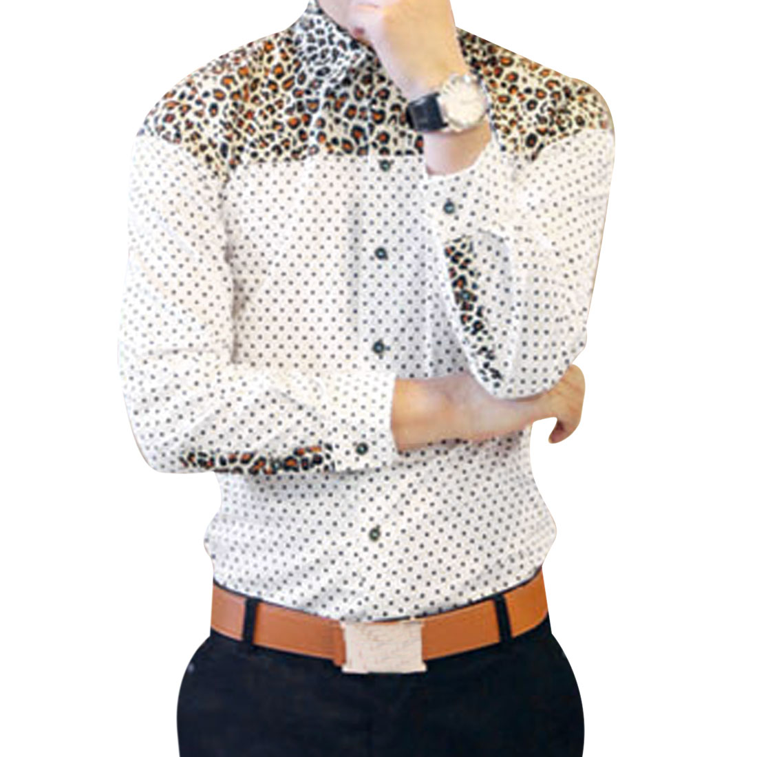 Single-Breasted Front Leopard Dots Pattern White Casual Shirt for Man S