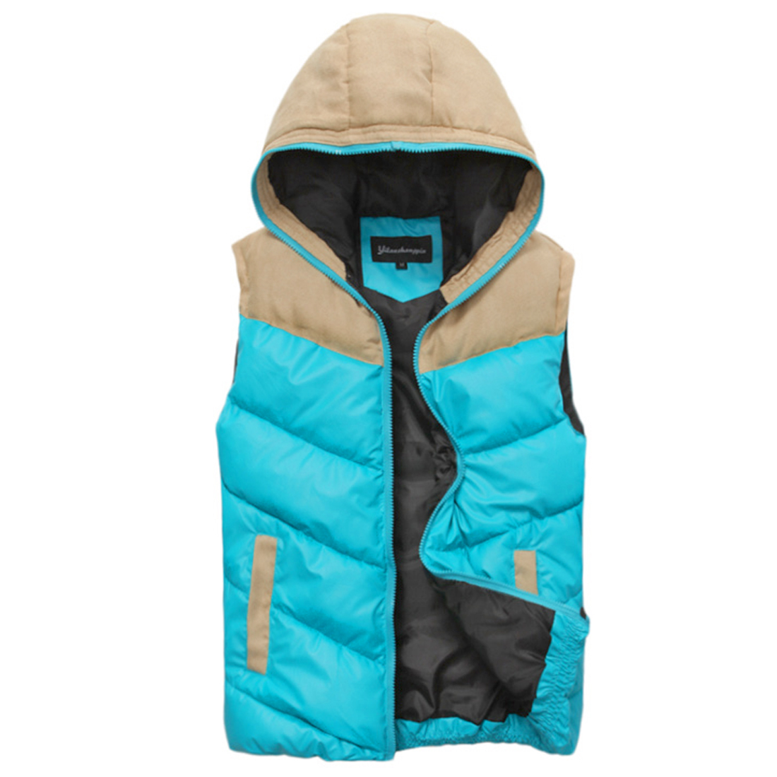 Stylish Turquoise Color Faux Suede Spliced Warm Padded Vest for Man M