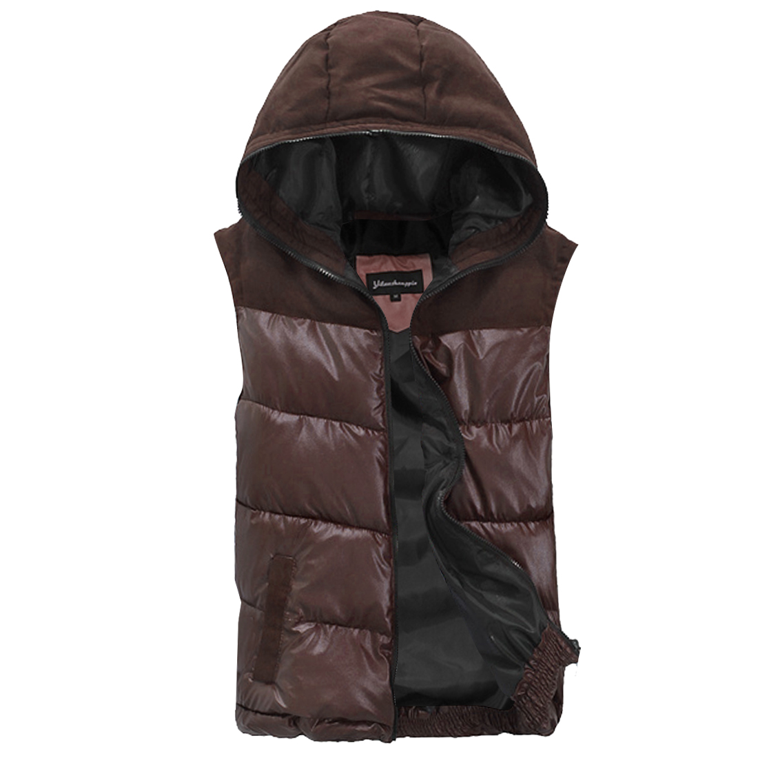 NEW Style Dark Brown Hooded Design Full Zip-Up Padded Vest for Man M