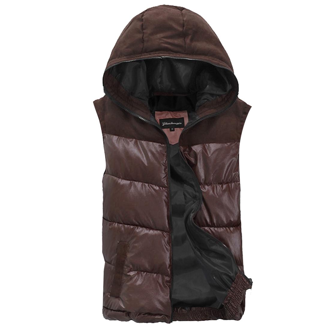 NEW Style Dark Brown Hooded Design Full Zip-Up Padded Vest for Man M
