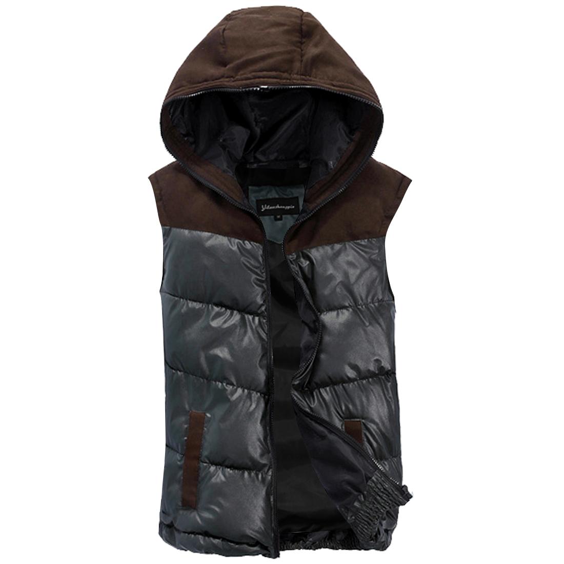 Men Faux Suede Spliced Dark Green Faux Leather Warm Padded Vest M