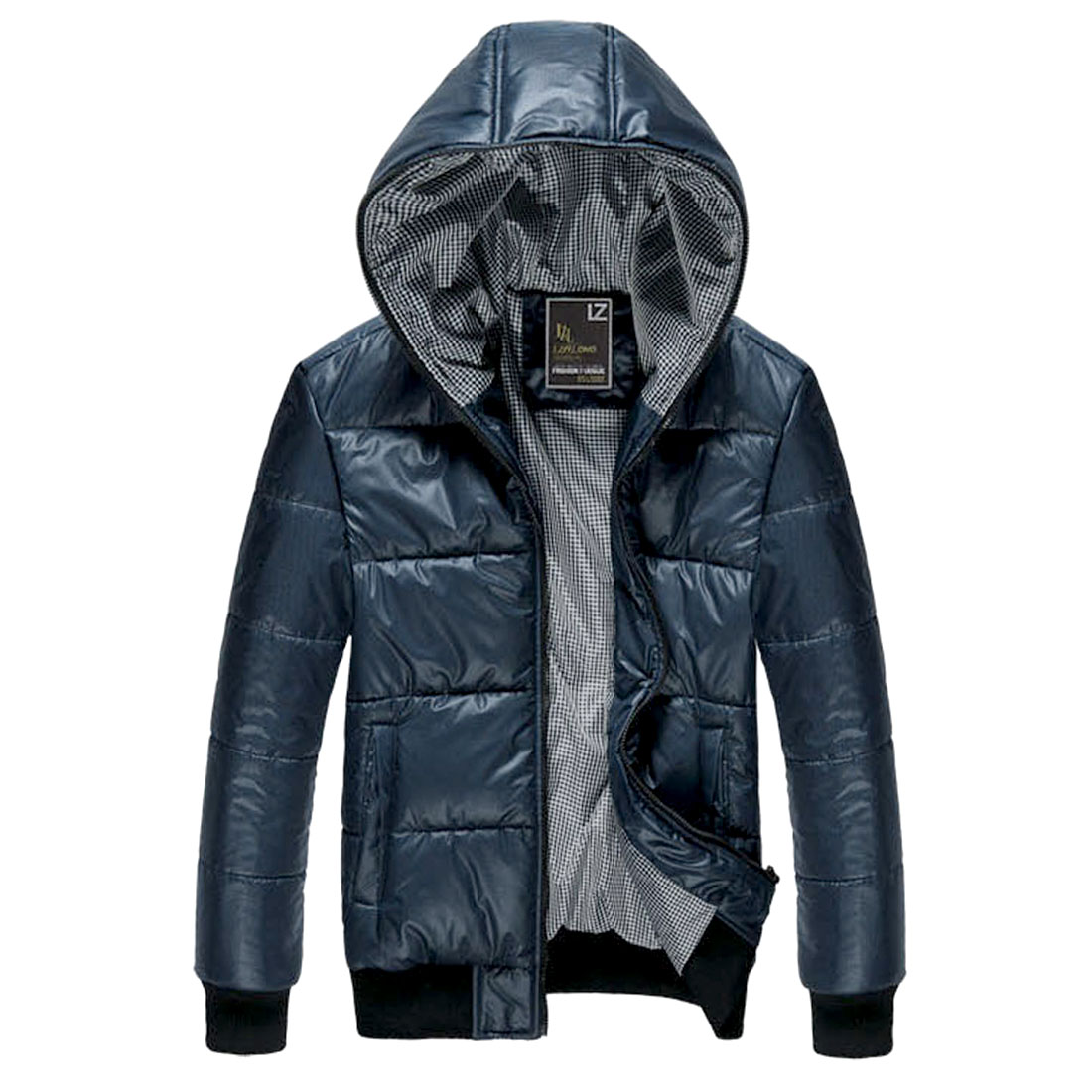 Men's Winter Zip Up Warm Hooded Blue Padded Coat L