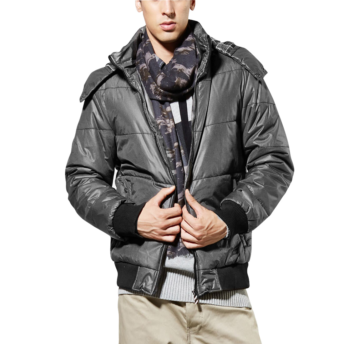 Men's Winter Convertible Collar Comfortable Blue Hooded Padded Coat Gray M
