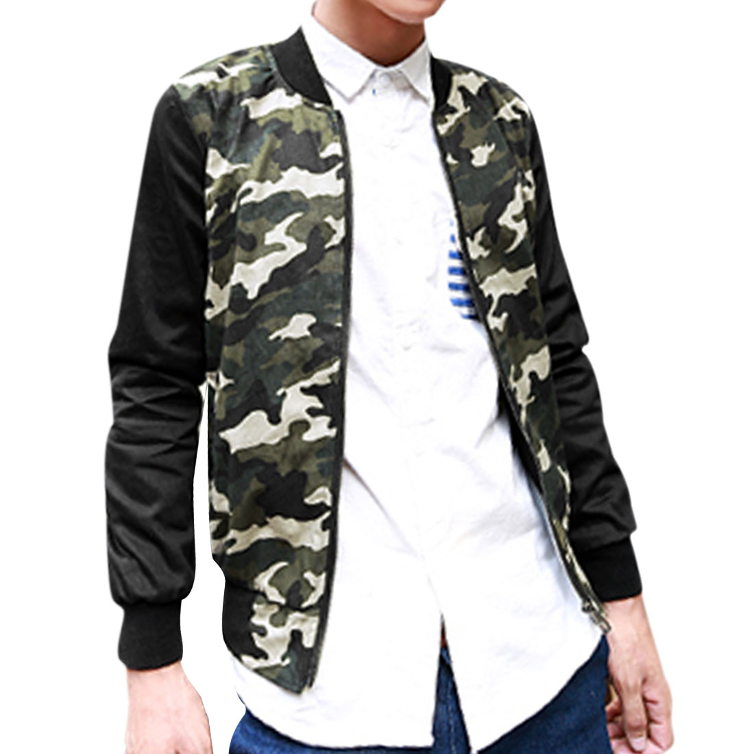 Men Stand Collar Two Pocket Dark Green Black Camouflage Jacket S