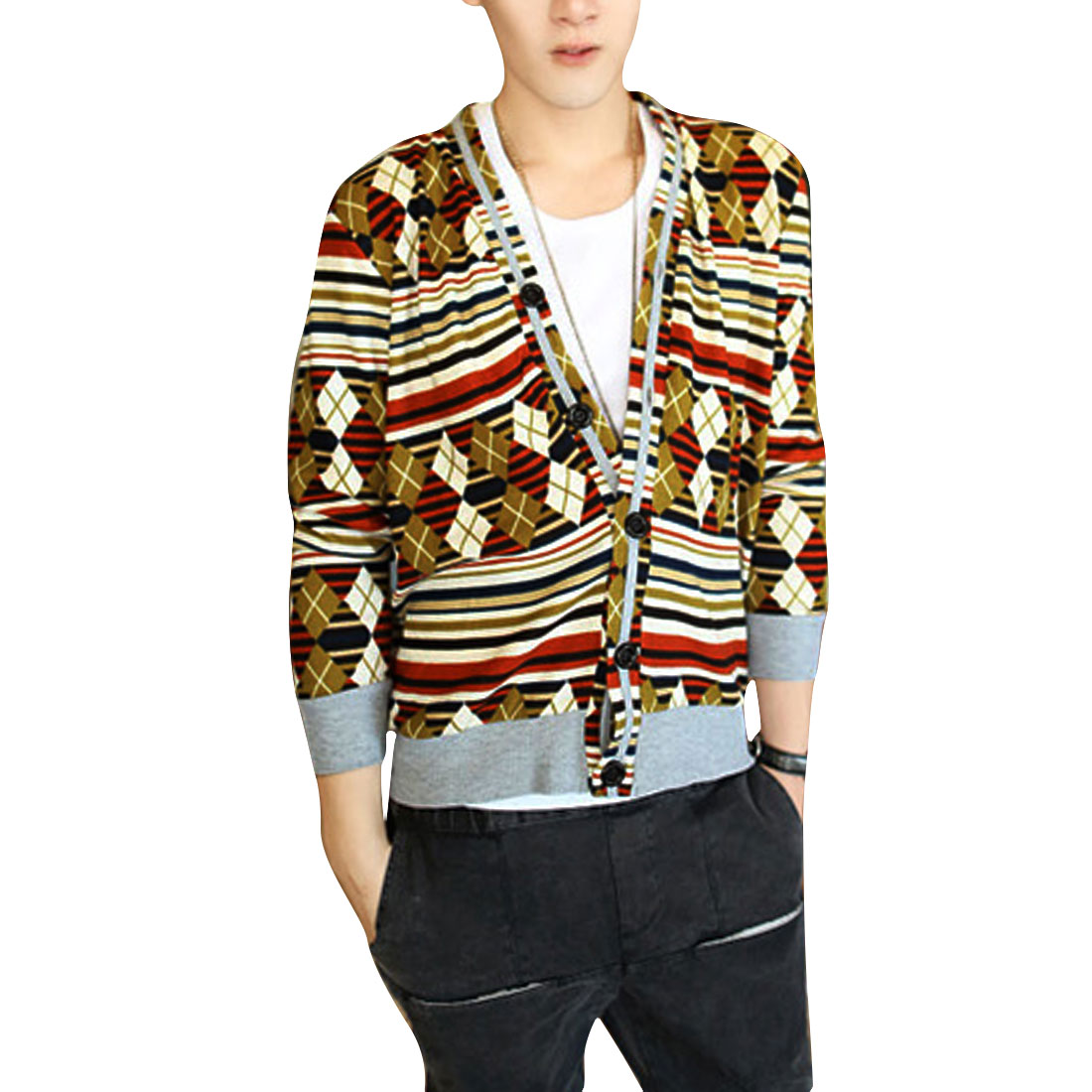 Men Single Breasted V Neck Ochre Cardigan Knitted Shirt S