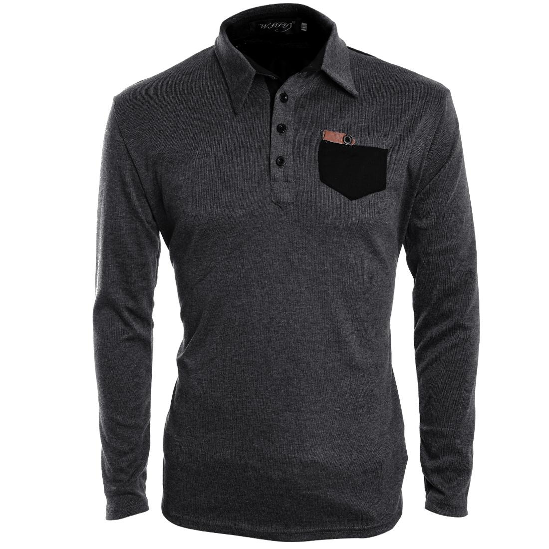 Men Long Sleeved 1/2 Placket Dark Gray Polo Shirt M