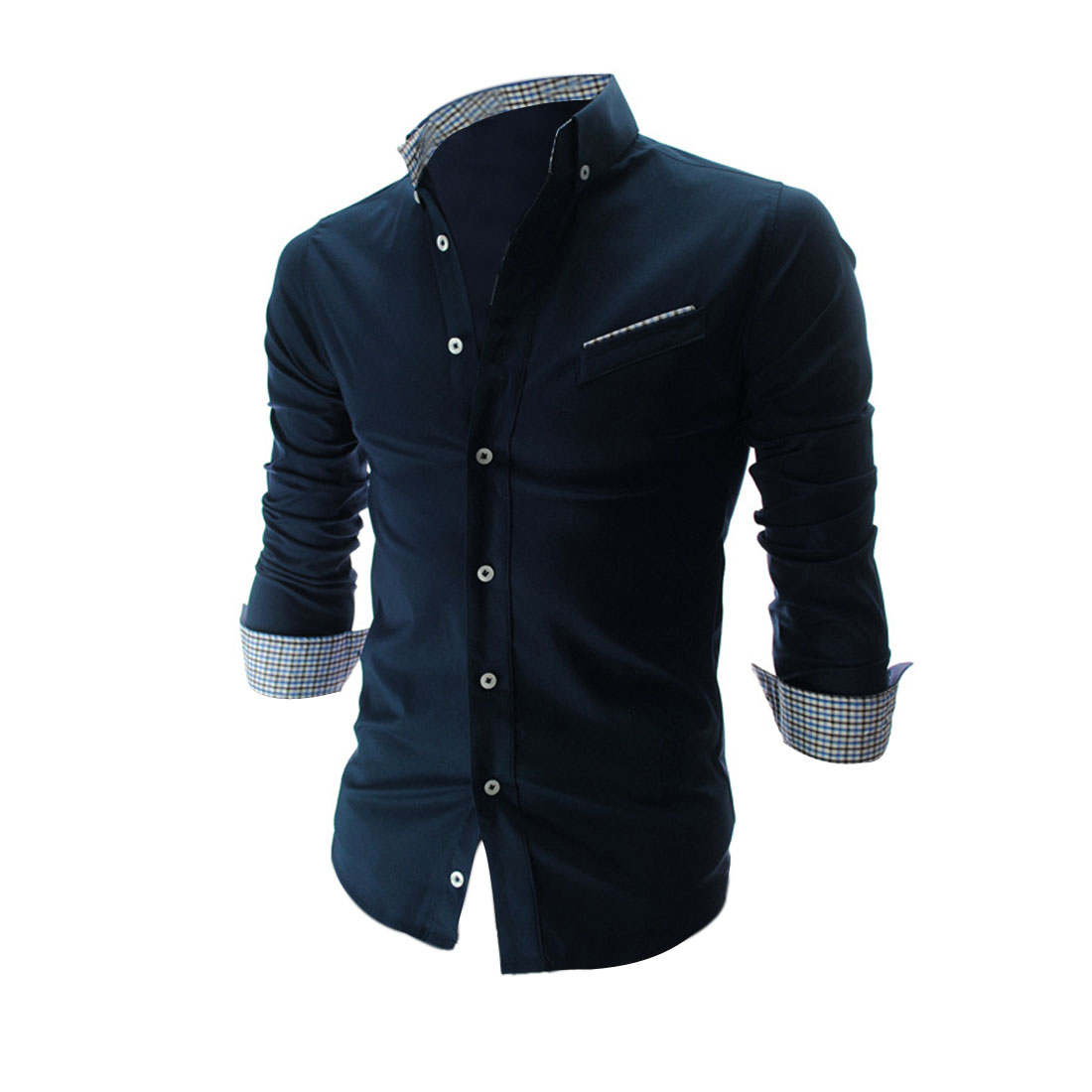 Single-Breasted Front Slim Fit Dark Blue Casual Shirt for Man M