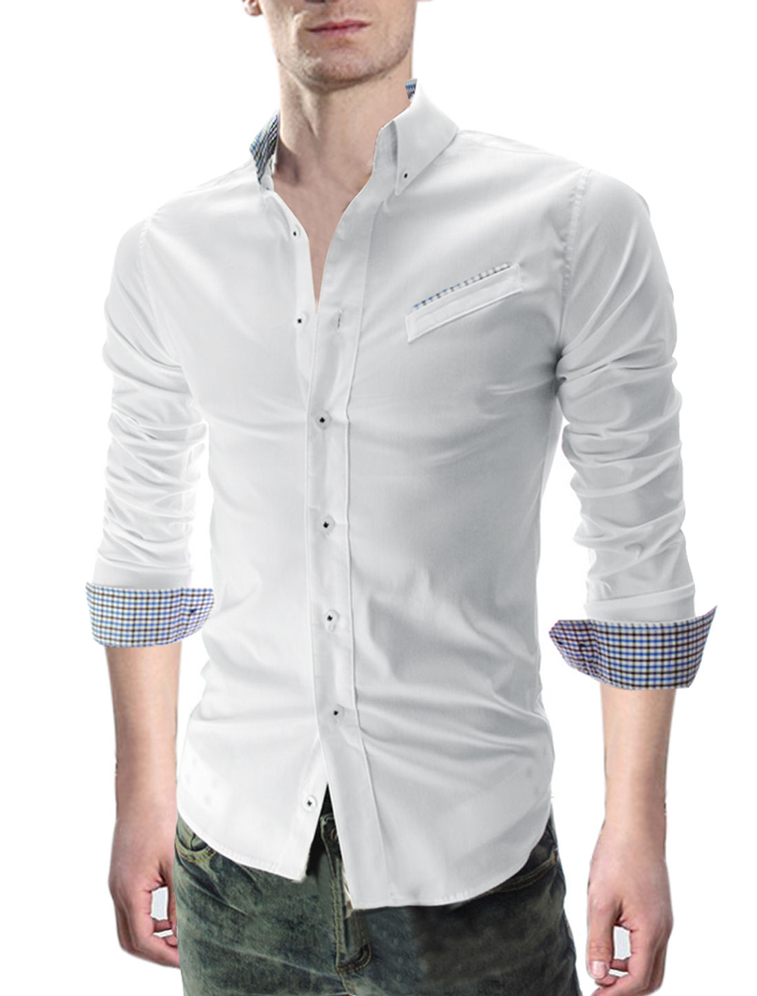 Men Point Collar Long Sleeve Plaids Detail Button-Front White Shirt M