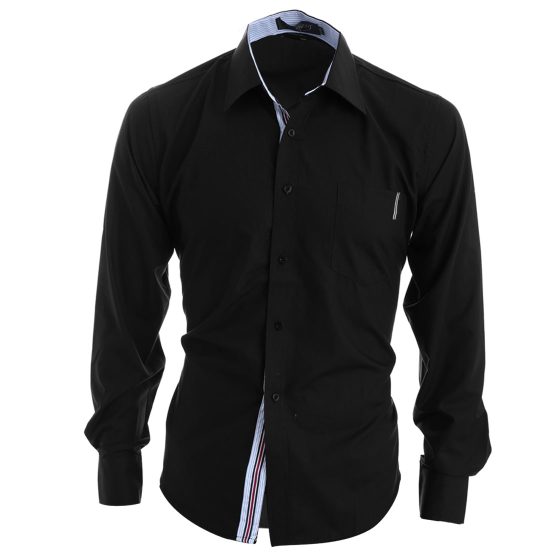 Single-Breasted Front Black Color Stripes Detail Casual Shirt for Man M