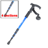 Plastic Grip Antishock Trekking Walking Hiking Telescoping Stick Pole Blue Black