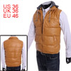 Men Detachable Hooded Full Zip-Up Ochre Color Faux Leather Padded Vest S
