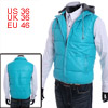Mans Chic Sky Blue Color Full Zip-Up Thick Faux Leather Padded Vest S