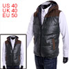Men Faux Suede Spliced Dark Green Faux Leather Warm Padded Vest M