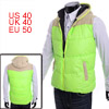 Yellow Green Color Faux Suede Spliced Thick Padded Vest for Man M