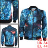 Men Zip Closure Long Sleeve Multicolor Novelty Prints Casual Jacket S