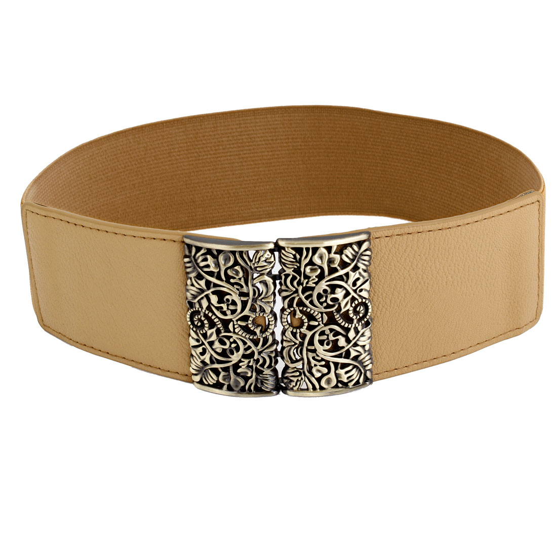 Women Interlocking Buckle Litchi Print Elastic Waist Cinch Belt Brown