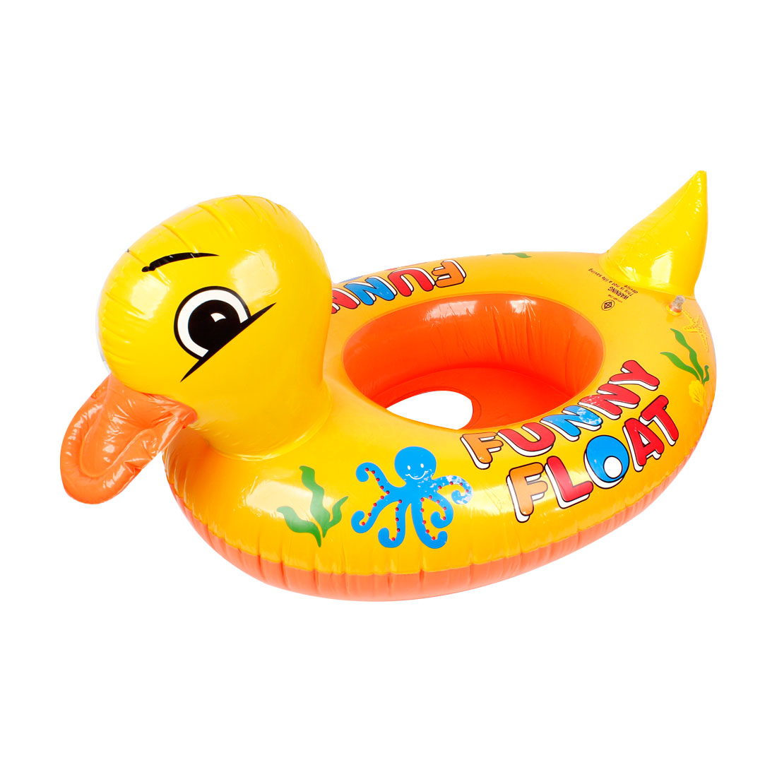 "Duck Shape 24.8"" Outside Diameter Inflatable Swim Ring Yellow Orange for Child"